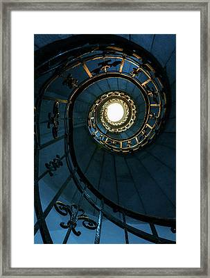 Framed Print featuring the photograph Blue And Golden Spiral Staircase by Jaroslaw Blaminsky