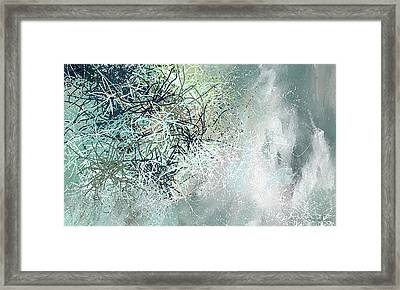 Blue And Gray Modern Abstract Art Framed Print by Lourry Legarde