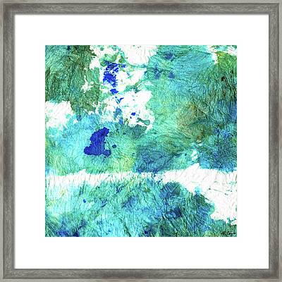 Blue And Green Abstract - Imagine - Sharon Cummings Framed Print