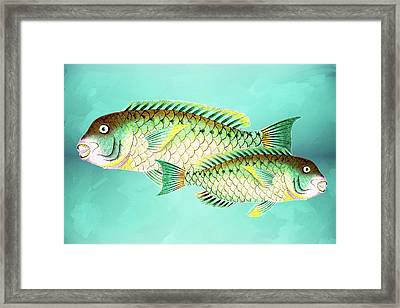 Blue And Green Fish Wall Art Framed Print
