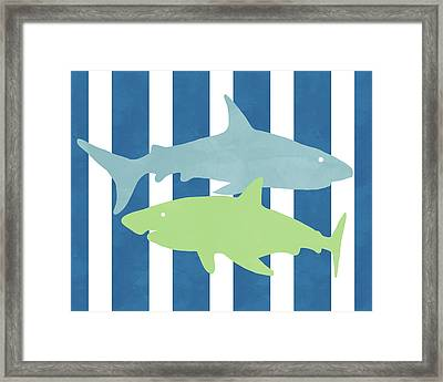 Blue And Green Sharks- Art By Linda Woods Framed Print