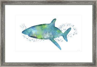 Blue And Green Watercolor Shark 1-art By Linda Woods Framed Print