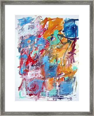 Blue And Orange Abstract Framed Print by Michael Henderson