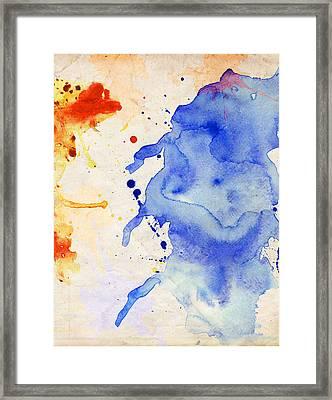 Blue And Orange Color Splash Framed Print