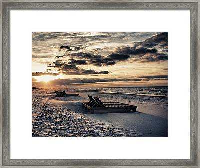Blue And Orange Sunrise On The Beach Framed Print