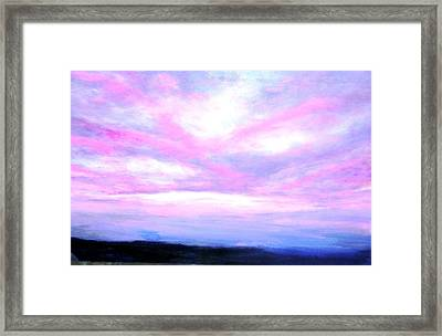 Framed Print featuring the painting Blue And Pink Sky by Marie-Line Vasseur