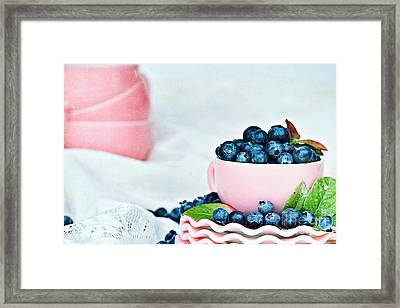 Blue And Pink Framed Print