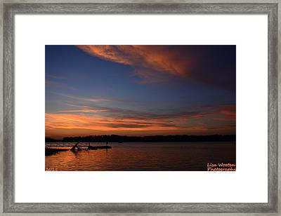 Blue And Pink Sunset Framed Print
