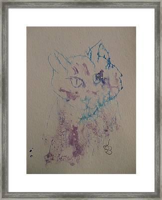 Framed Print featuring the drawing Blue And Purple Cat by AJ Brown