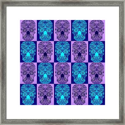 Blue And Purple Skulls Framed Print by Cathy Jacobs