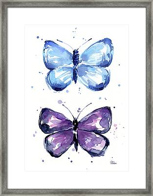 Blue And Purple Watercolor Butterflies Framed Print
