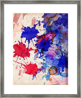 Blue And Red Color Splash Framed Print
