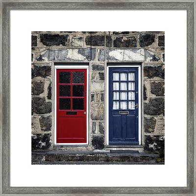 Blue And Red Doors Framed Print