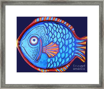 Blue And Red Fish Framed Print