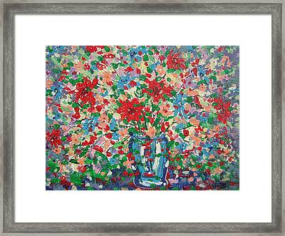 Blue And Red Flowers. Framed Print