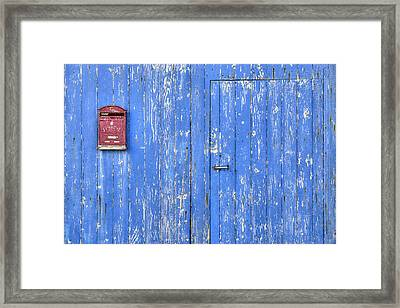 Blue And Red Framed Print