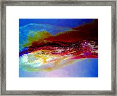 Blue And Red Mountains Framed Print by Beth Akerman