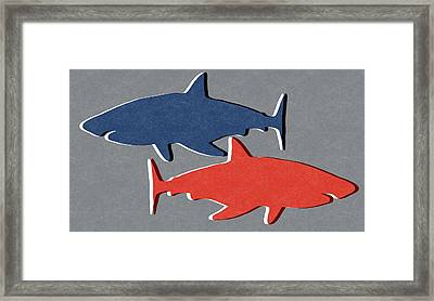 Blue And Red Sharks Framed Print