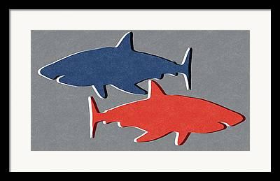 Sharks Mixed Media Framed Prints