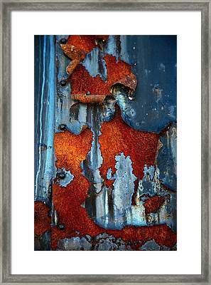 Framed Print featuring the photograph Blue And Rust by Karol Livote
