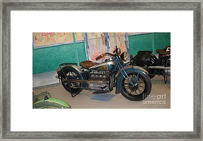 Blue And Silver Indian Motorcycle   # Framed Print by Rob Luzier