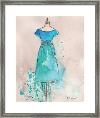 Blue And Teal Dress Framed Print by Lauren Maurer