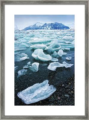 Blue And Turquoise Ice Jokulsarlon Glacier Lagoon Iceland Framed Print by Matthias Hauser