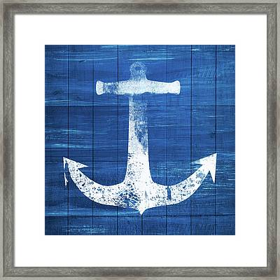 Framed Print featuring the mixed media Blue And White Anchor- Art By Linda Woods by Linda Woods