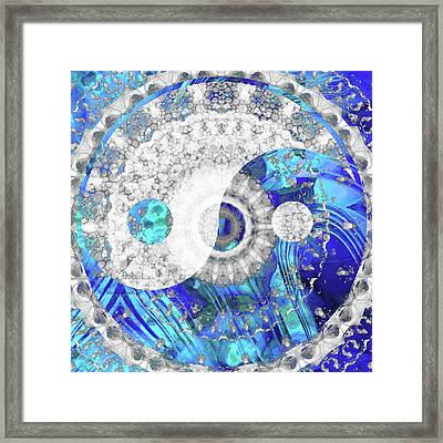 Blue And White Art - Yin And Yang Symbol - Sharon Cummings Framed Print