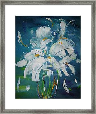 Blue And White Framed Print by Bridgette  Allan