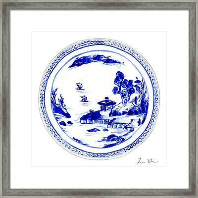 Blue And White Chinese Chinoiserie Plate 2 Framed Print by Laura Row