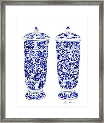 Blue And White Chinoiserie Vases Framed Print by Laura Row