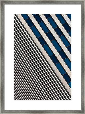 Blue And White Diagonals Framed Print by Keith Allen