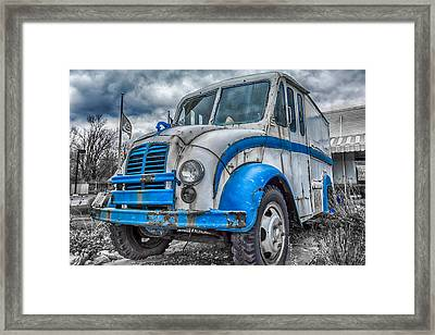 Blue And White Divco Framed Print by Guy Whiteley