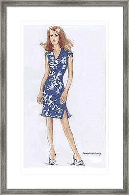 Blue And White Dress Illustration Framed Print