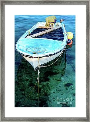 Blue And White Fishing Boat On The Adriatic - Rovinj, Croatia Framed Print