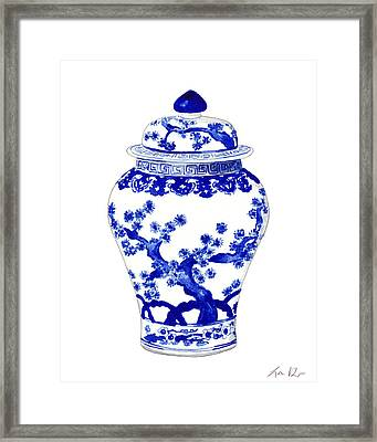 Blue And White Ginger Jar Chinoiserie 10 Framed Print by Laura Row