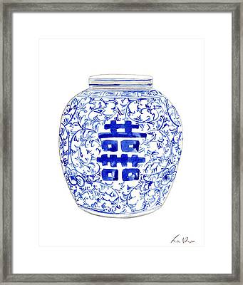 Blue And White Ginger Jar Chinoiserie 8 Framed Print