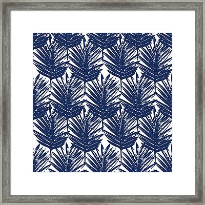 Blue And White  Palm Leaves 3 - Art By Linda Woods Framed Print
