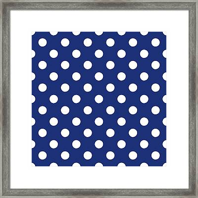 Blue And White Polka Dots- Art By Linda Woods Framed Print by Linda Woods