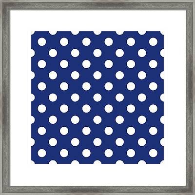 Blue And White Polka Dots- Art By Linda Woods Framed Print