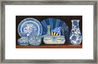 Blue And White Porcelain Ware Framed Print by Marlene Book