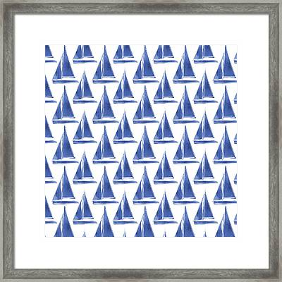 Blue And White Sailboats Pattern- Art By Linda Woods Framed Print