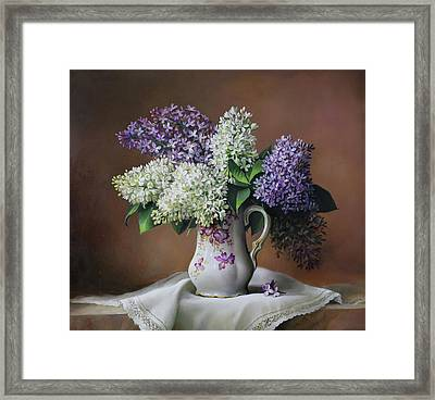 Blue And White Seringa Framed Print by Pieter Wagemans