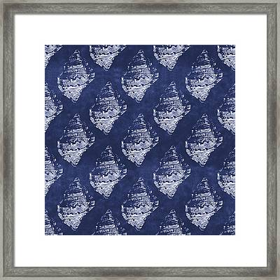 Blue And White Seashells 1- Art By Linda Woods Framed Print