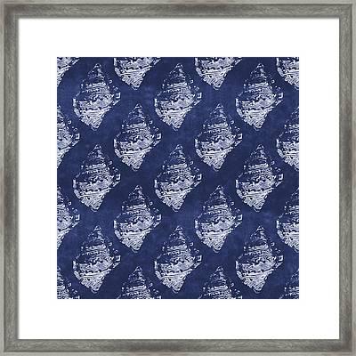 Blue And White Seashells 1- Art By Linda Woods Framed Print