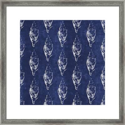 Blue And White Seashells 2- Art By Linda Woods Framed Print