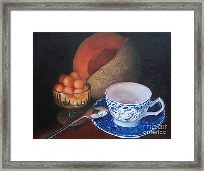 Blue And White Teacup And Melon Framed Print by Marlene Book