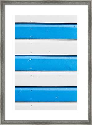 Blue And White Wood Framed Print