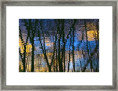 Blue And Yellow Abstract Reflections Framed Print by Pixie Copley